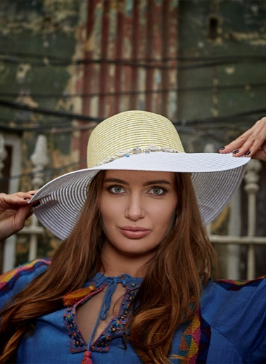 Laslusa İçten Ayarlanabilir Hasır Istiridye Kabuklu Geniş Kenar Şapka